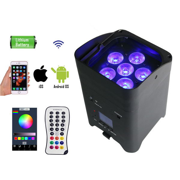 BY-866A 6pcs 4in1/5in1/6in1 LED wireless battery powered uplights with smartphone APP control